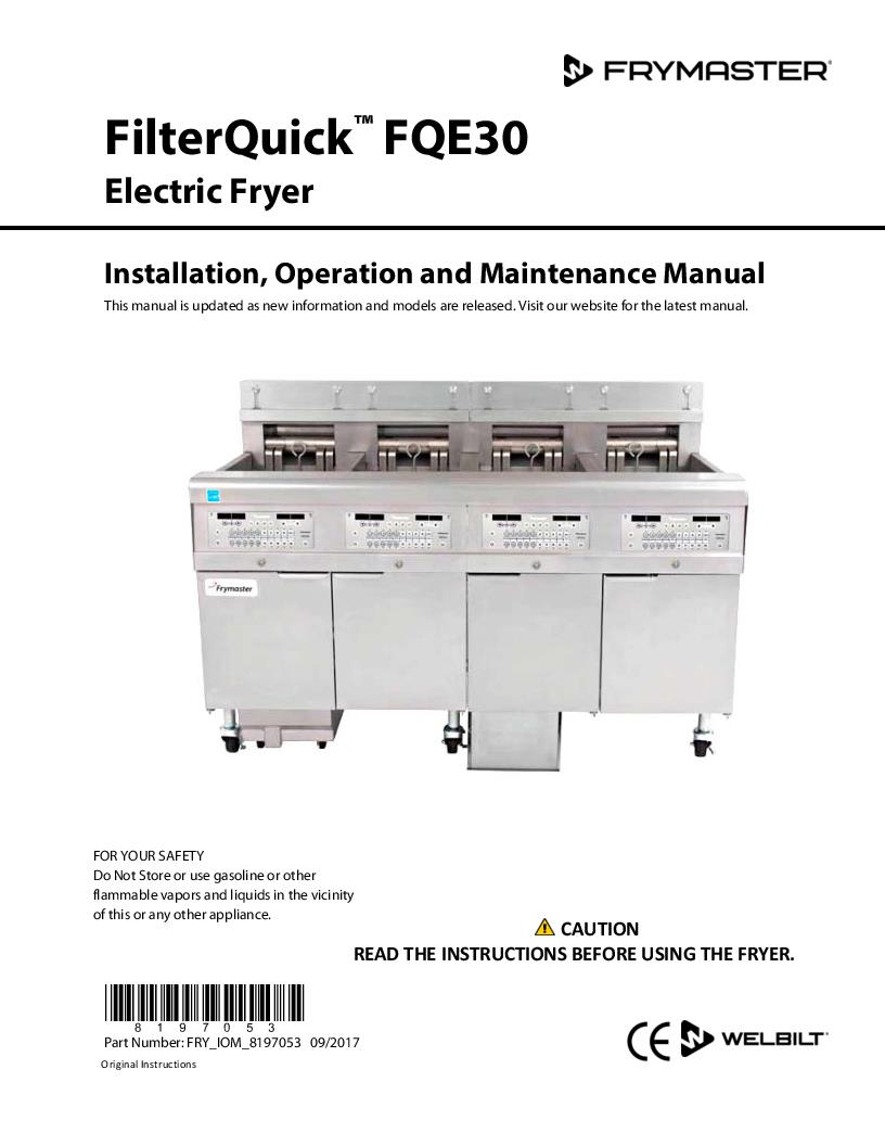 welbilt product filterquick electric operation manual